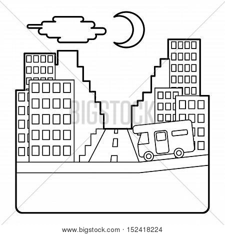 Camper rides at night in city concept. Outline illustration of camper rides at night in city vector concept for web