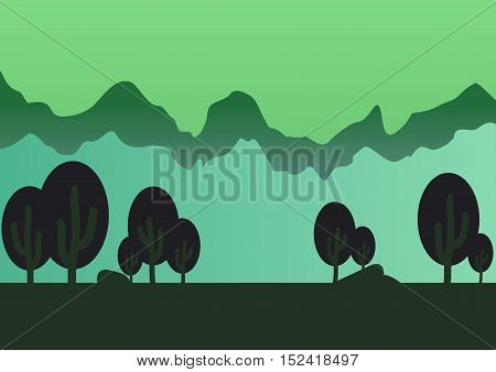 Game style forest parallax background vector illustration