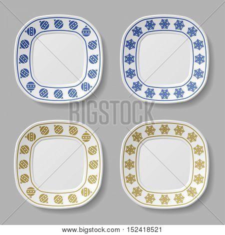 ornate christmas ball snowflake plates vector