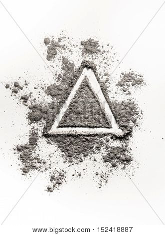 Hand drawing illustration concept triangle shape in ash dust sand dirt