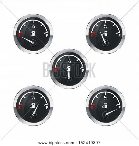 Set of modern fuel indicators with different fuel level isolated on white