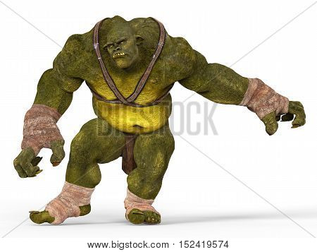 Ogre Monster 3D Illustration Isolated On White