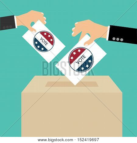Presidential Election Day Vote Box. American Flag's Symbolic Elements - Red Stripes And White Stars.