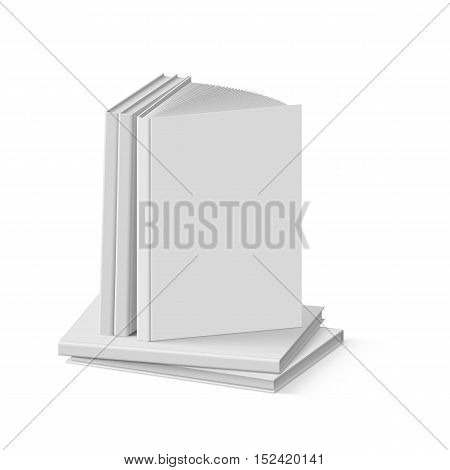 Stack of Blank Gray Books on White Background