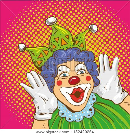 Smiling clown cartoon character. Vector illustration in comic pop art style.