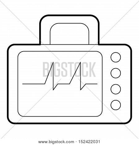 Monitor with cardiogram icon. Outline illustration of monitor with cardiogram vector icon for web
