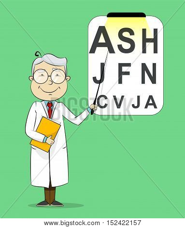 Fun cartoon ophthalmologist testing visual acuity. Medical vector Illustration