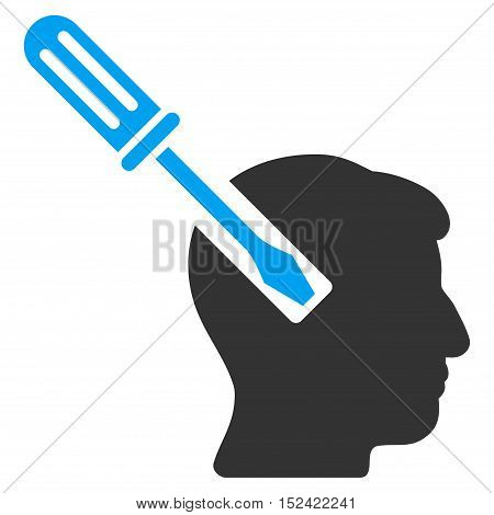 Head Screwdriver Tuning vector icon. Style is flat graphic bicolor symbol blue and gray colors white background.