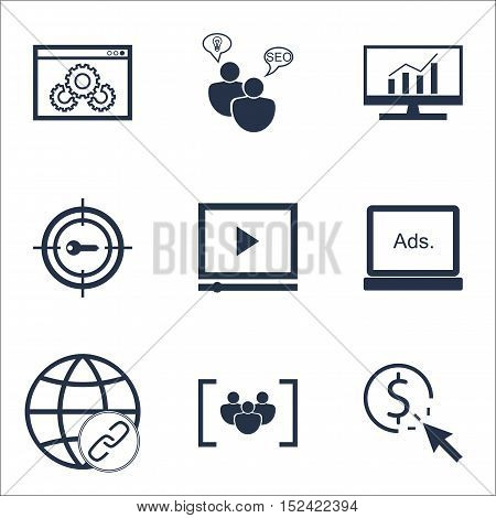 Set Of Seo Icons On Connectivity, Ppc And Questionnaire Topics. Editable Vector Illustration. Includ