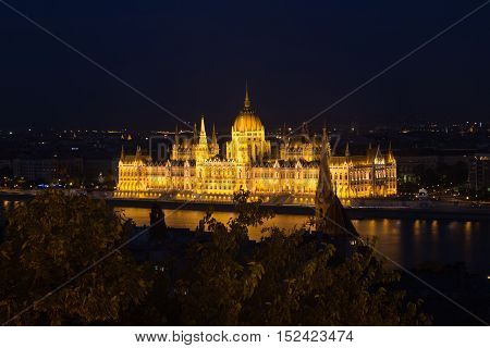 Beautiful view of Budapest's Parliament. Parliament Building on the Danube River in Budapest. Hungary Budapest.