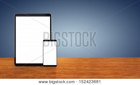 Large tablet and smartphone with blank screens on wooden counter top with blue background copyspace , Mobile devices , 3d illustration