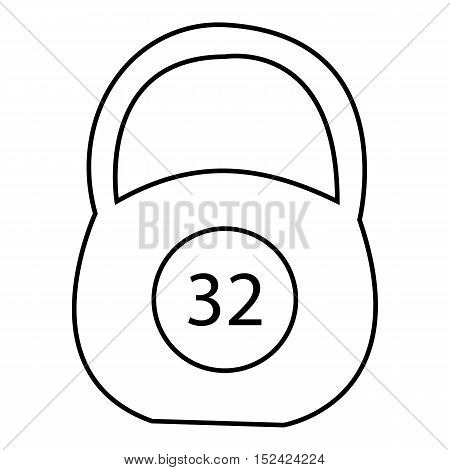 Weight thirty two pounds icon. Outline illustration of weight thirty two pounds vector icon for web