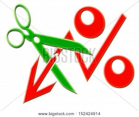 Scissors and red percent sign . The concept of lowering the Bank rate .