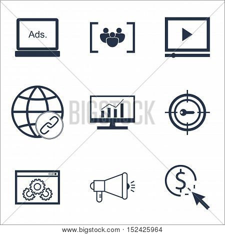 Set Of Seo Icons On Market Research, Digital Media And Keyword Marketing Topics. Editable Vector Ill