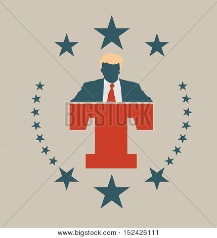 USA - October 13, 2016: A vector illustration of a businessman icon in flat style and letter T that symbolized the Republican Presidential Candidate Donald Trump.