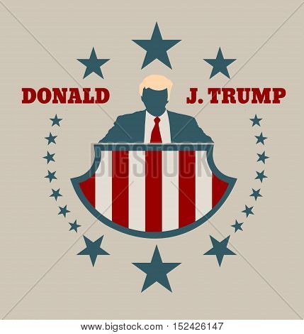 USA - October 13, 2016: A vector illustration of a businessman icon in flat style and the Republican Presidential Candidate Donald Trump name.