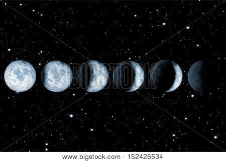 illustration of a moon eclipse on a starry sky
