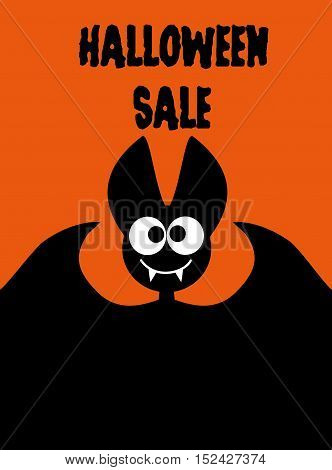 Halloween sale bat on orange background Halloween idea for advertising a website banner mailing printing of flyers invitations brochures