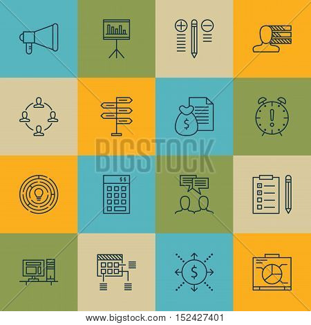 Set Of Project Management Icons On Time Management, Opportunity And Schedule Topics. Editable Vector