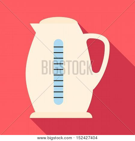 Plastic electric kettle icon. Flat illustration of plastic electric kettle vector icon for web