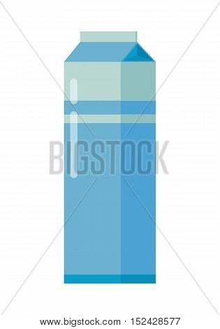 Milk blue carton package. Carton of dairy. Milk box. Farm food. Milk icon. Retail store element. Simple drawing in flat style. Isolated vector illustration on white background.
