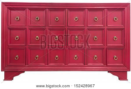 old vintage antique cabinet dresser chest of drawers pine wood hand painted well used isolated on white background