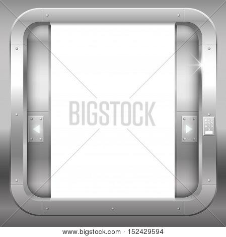 Fantastic steel double doors open portal or laboratory bank. Vector graphics