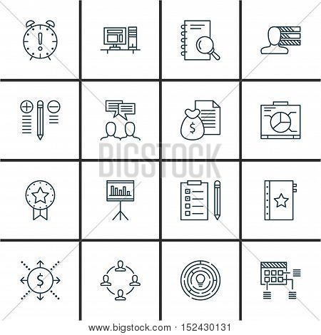 Set Of Project Management Icons On Computer, Discussion And Decision Making Topics. Editable Vector