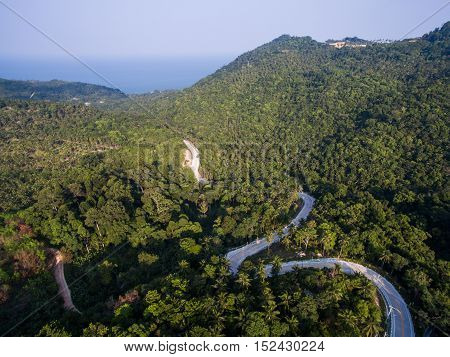 Aerial view of the road in the jungle of Koh Phangan, Thailand