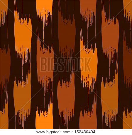 Abstract stains, seamless pattern, brown. Vector background of vertical, rough, brown, and orange spots on a dark brown field.