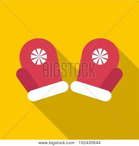 Red winter mittens icon. Flat illustration of red winter mittens vector icon for web