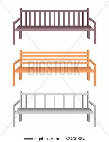 Set of park bench. Brown wooden and silver metal bench icon. One isolated outdoor bench. City object in flat. Simple drawing. Isolated vector illustration on white background.