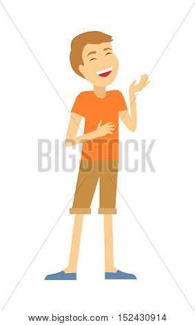 Human temperament. Sanguine temperament type people. Medicine health human, system emotion, individuality mental energy, theory science, happy and cheerful, scientific illustration. Vector poster