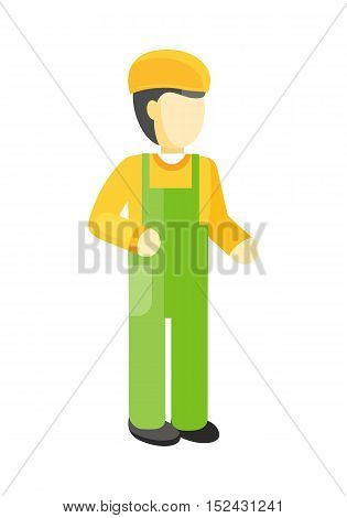 Worker in green uniform and orange helmet. Construction worker. Worker silhouette professional industrial repairman. Worker icon. Isolated vector illustration on white background.