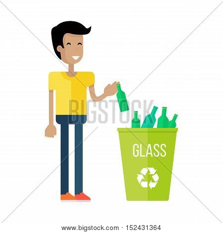 Boy throw the bottle into the container with glass. Waste recycling infographic concept. Sorting process different types of waste vector illustration. Environment protection. Flat style design. Vector