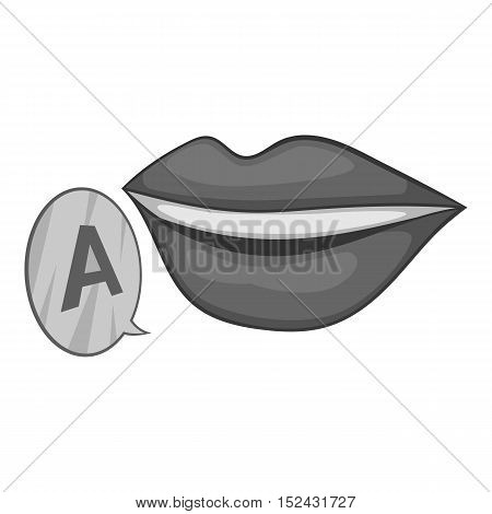 Lips pronounce letter a icon. Gray monochrome illustration of lips pronounce letter a vector icon for web