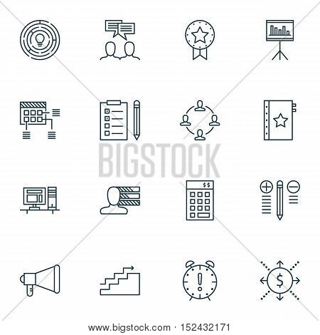 Set Of Project Management Icons On Presentation, Collaboration And Personal Skills Topics. Editable
