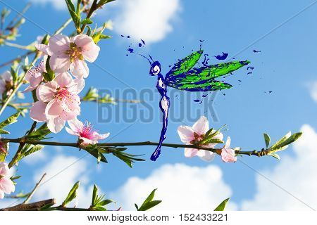 Green blue white paint made dragonfly flying around pink peach flower