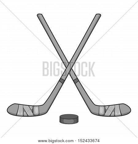 Hockey sticks and puck icon. Gray monochrome illustration of hockey sticks and puck vector icon for web