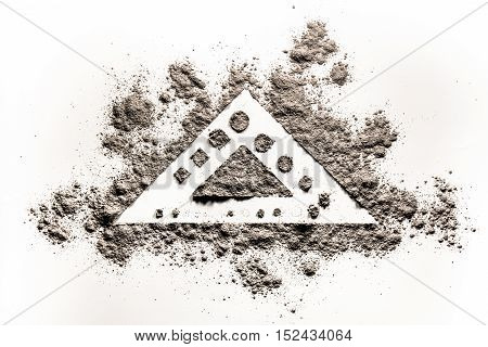 Triangle element shape concept drawing illustration in grey ash dust sand dirt