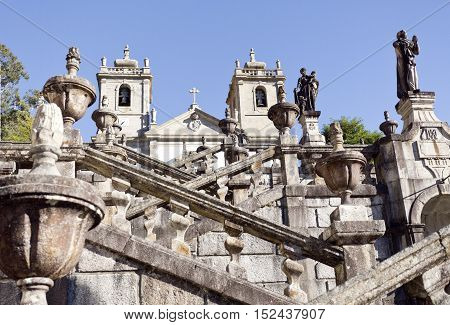 Detail of the monumental flight of steps leading to the Sanctuary of Our Lady in the Peneda Geres National Park North of Portugal