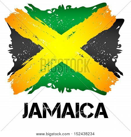 Flag of Jamaica from brush strokes in grunge style isolated on white background. Independent state in North America within Commonwealth headed by Great Britain. Vector illustration