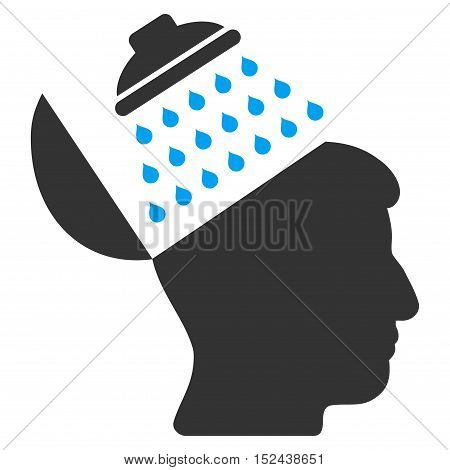 Propaganda Brain Shower vector pictograph. Style is flat graphic bicolor symbol, blue and gray colors, white background.