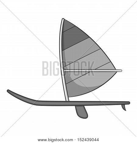 Sport boat with sail icon. Gray monochrome illustration of sport boat with sail vector icon for web