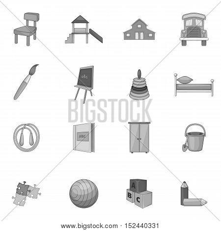 Kindergarten icons set. Gray monochrome illustration of 16 kindergarten vector icons for web