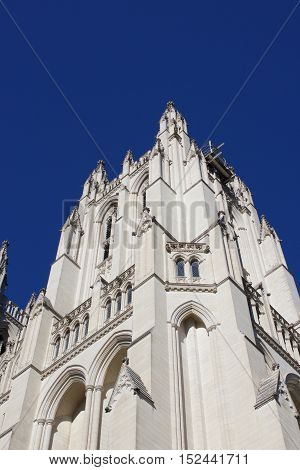 National Cathedral spire tower in Washington, DC