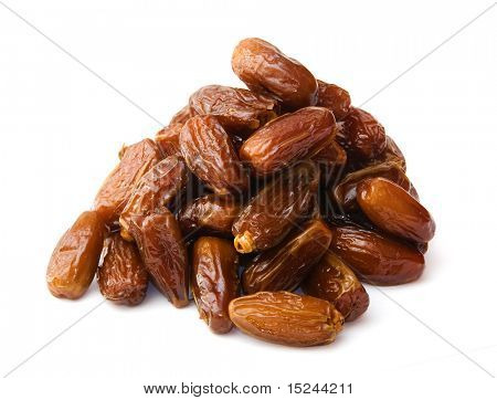 dates isolated on white, dried fruits poster