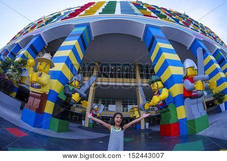 Cute Happy Girl At Legoland Hotel