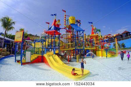 Kids Having Fun At Legoland Water Park