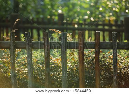 Vintage Style Wooden Fence At The Park